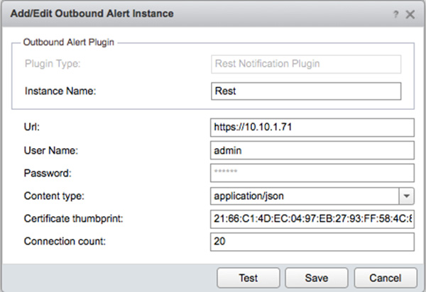 Fig 1: Configuring an outbound alert instance