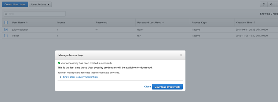 Picture shows the GUI that enables the download of the AWS access and secret key