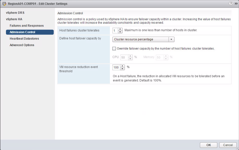 VMware has overhauled the HA-Settings-GUI in vSphere 6.5, here the Admission Control. (Thomas Drilling, VMware)