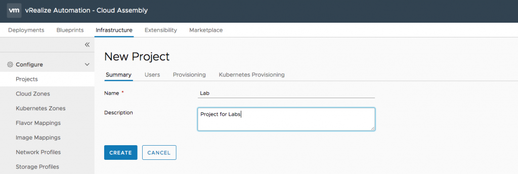 New Project in vRealize Automation 8