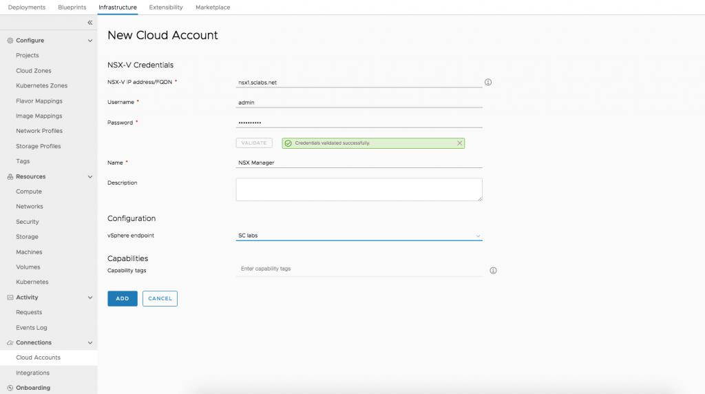 NSX-V Cloud Account
