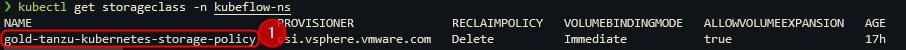 create tkg cluster get storageclass