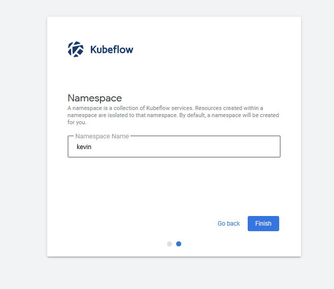 first login prompt choose namespace