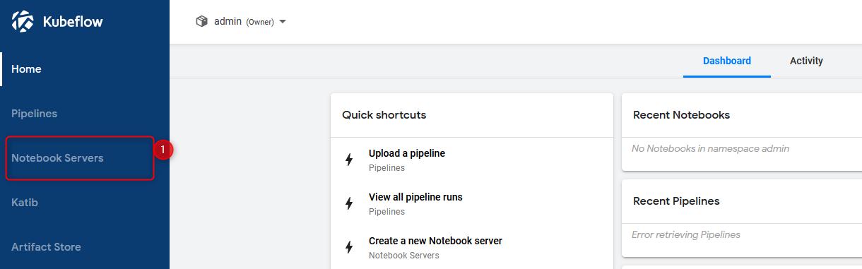 kubeflow dashboard click notebooks