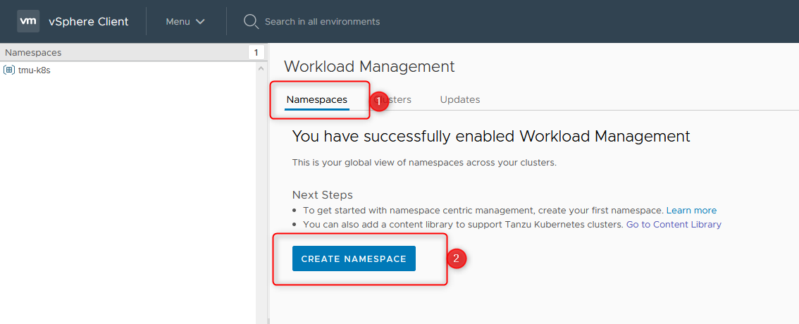 create namespace step 2