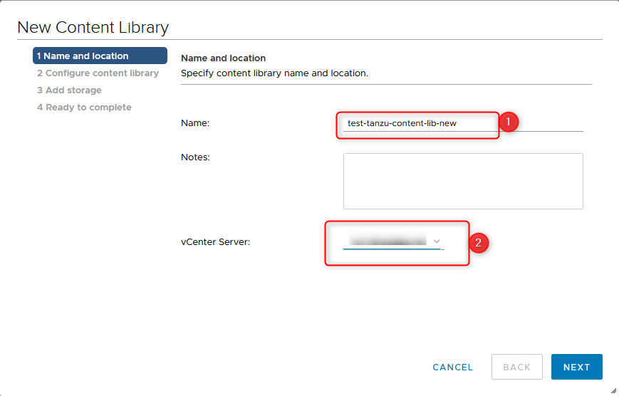 setting up the content library step 3