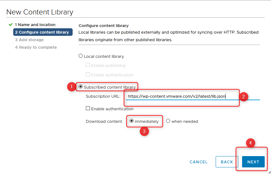 setting up the content library step 4