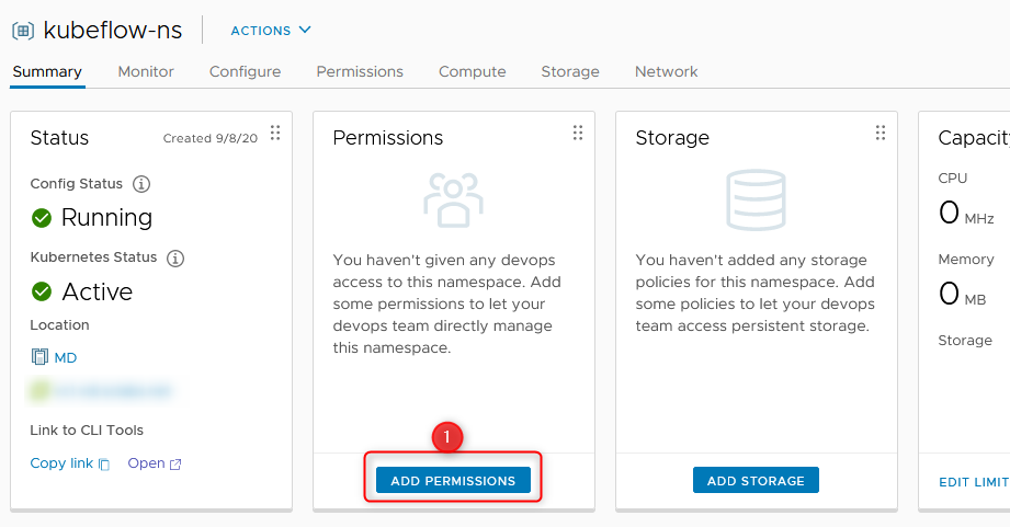 create namespace step 4