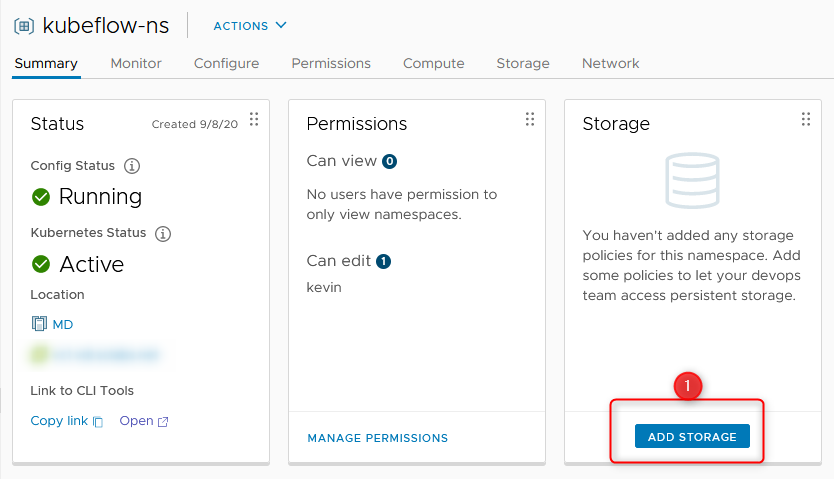 create namespace step 6