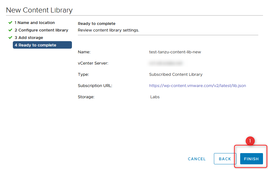 setting up the content library step 7